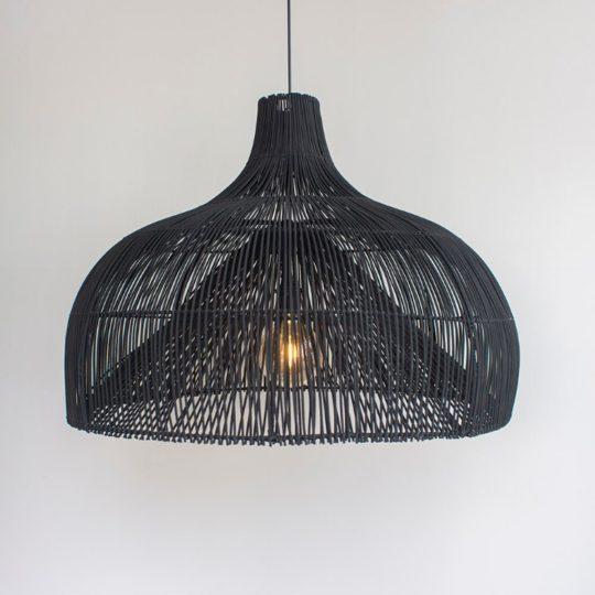 Zwarte bamboe hanglamp Maggie