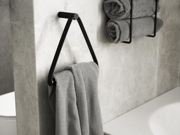 Zwart metalen handdoekhouder