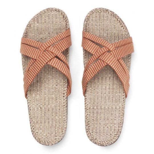 Oranje gestreepte dames slippers