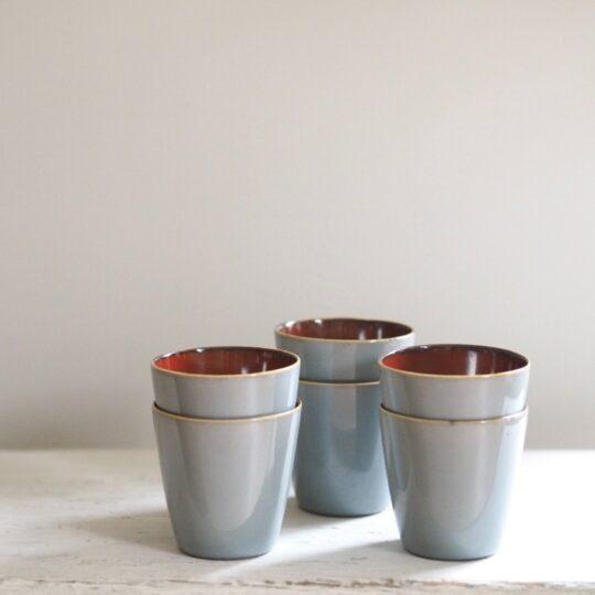 espressokopjes smokey blue set van 6