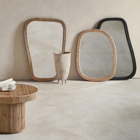 zwarte bamboe spiegel L